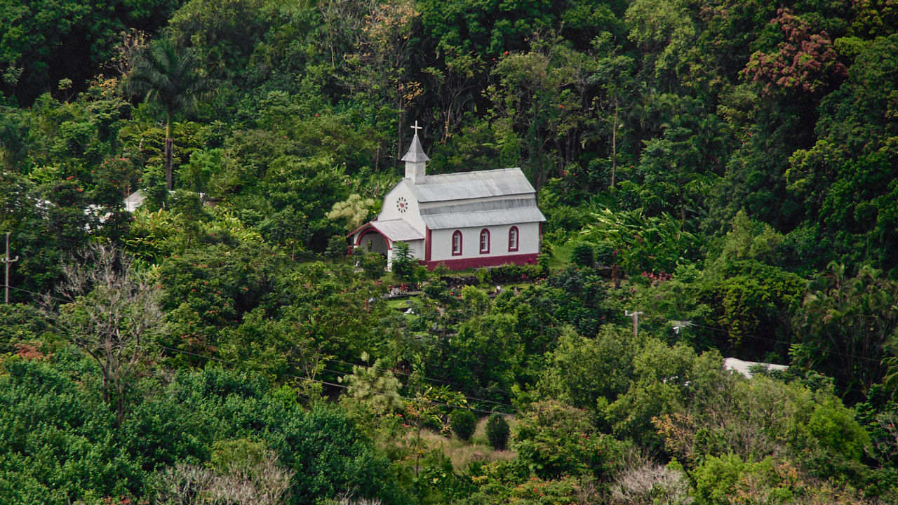 The Saint Gabriels Mission Coral Miracle Church in Wailua. I shot this from over half a mile away!