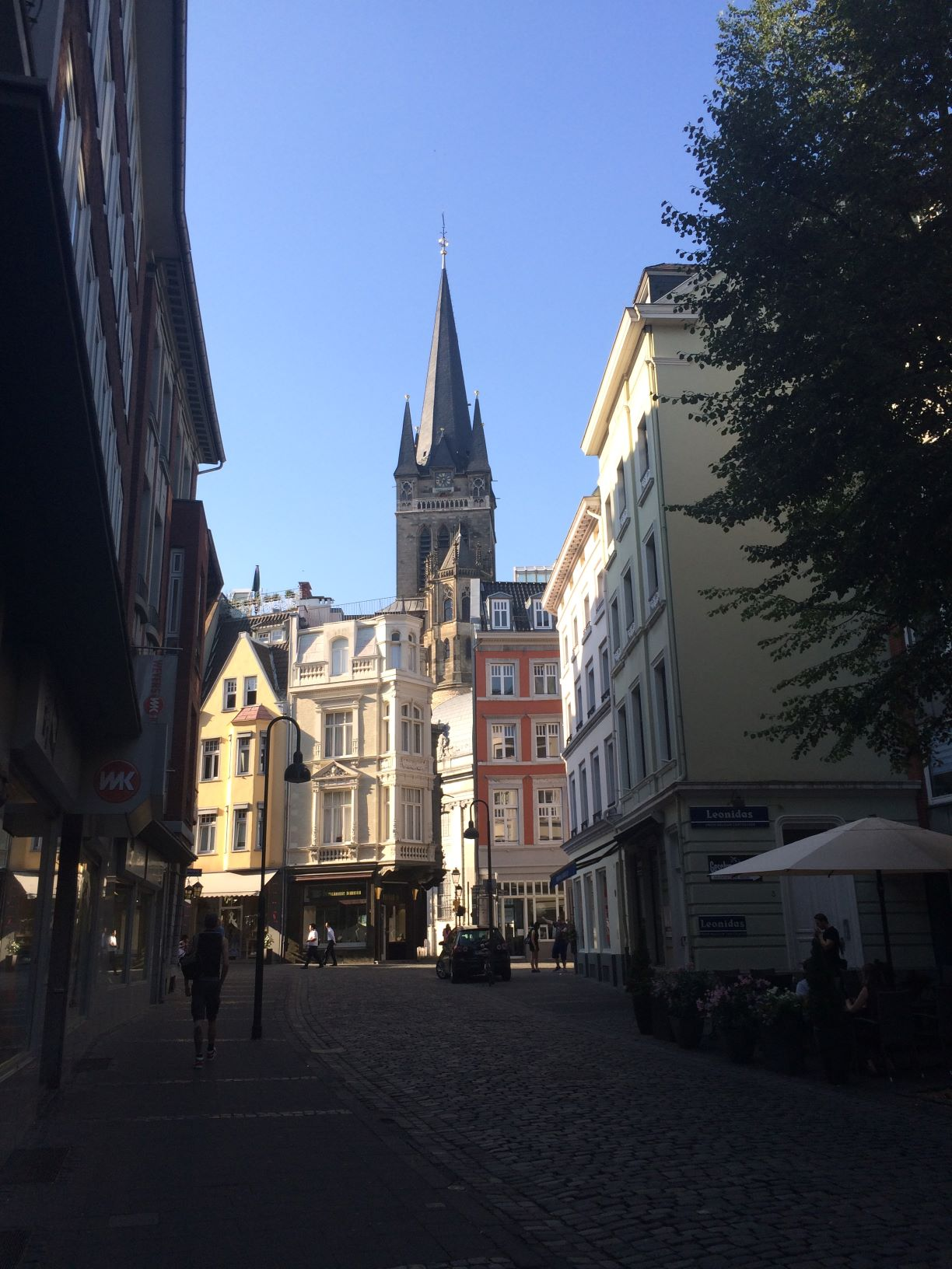 A view of one side of Aachen's cathedral from its old town center.