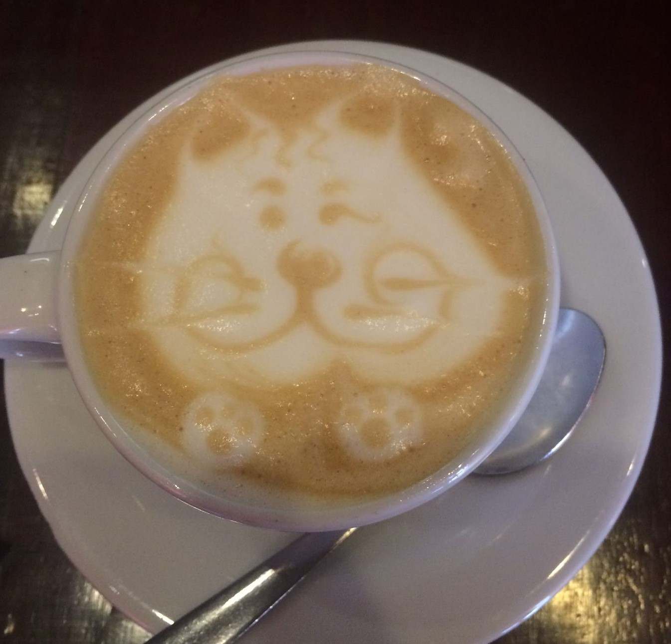 Latte with impressive cat art. Bogota, Sept. 2017