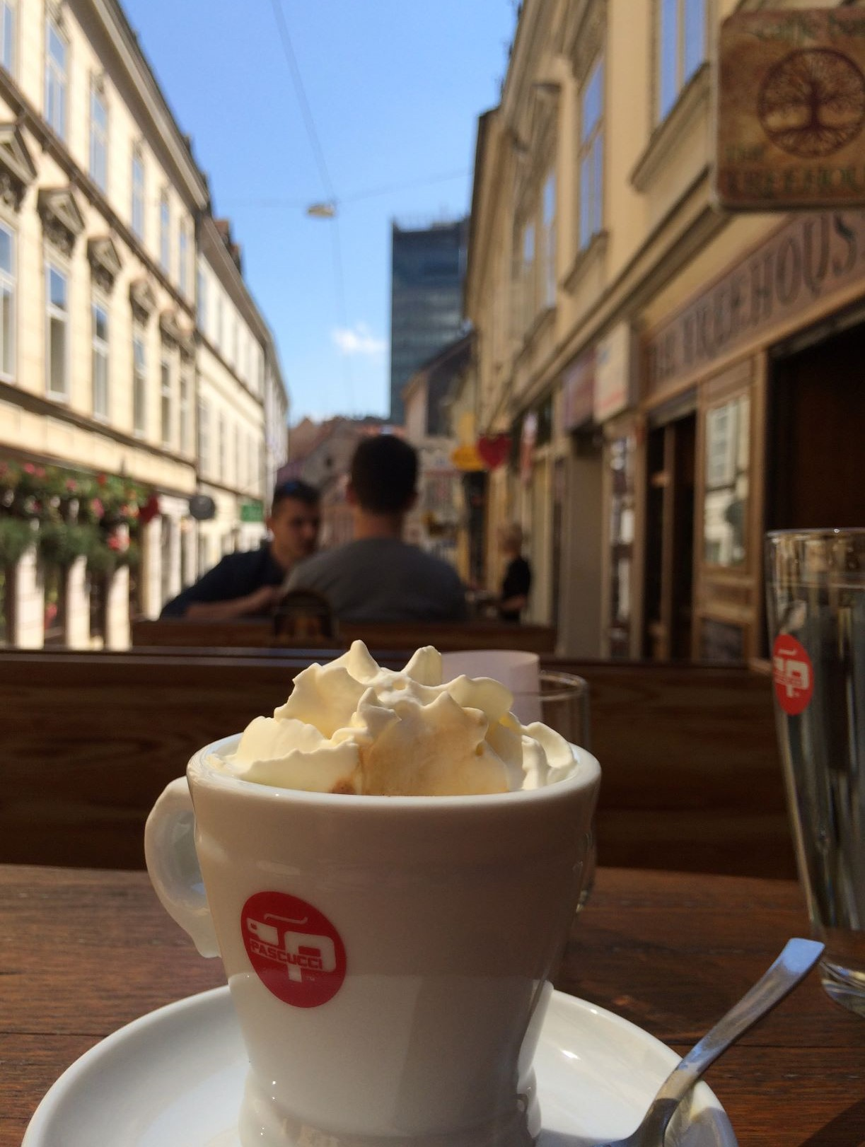 Kafa sa šlagom, or a shot of espresso covered in homemade whipped cream. Zagreb, May 2018.