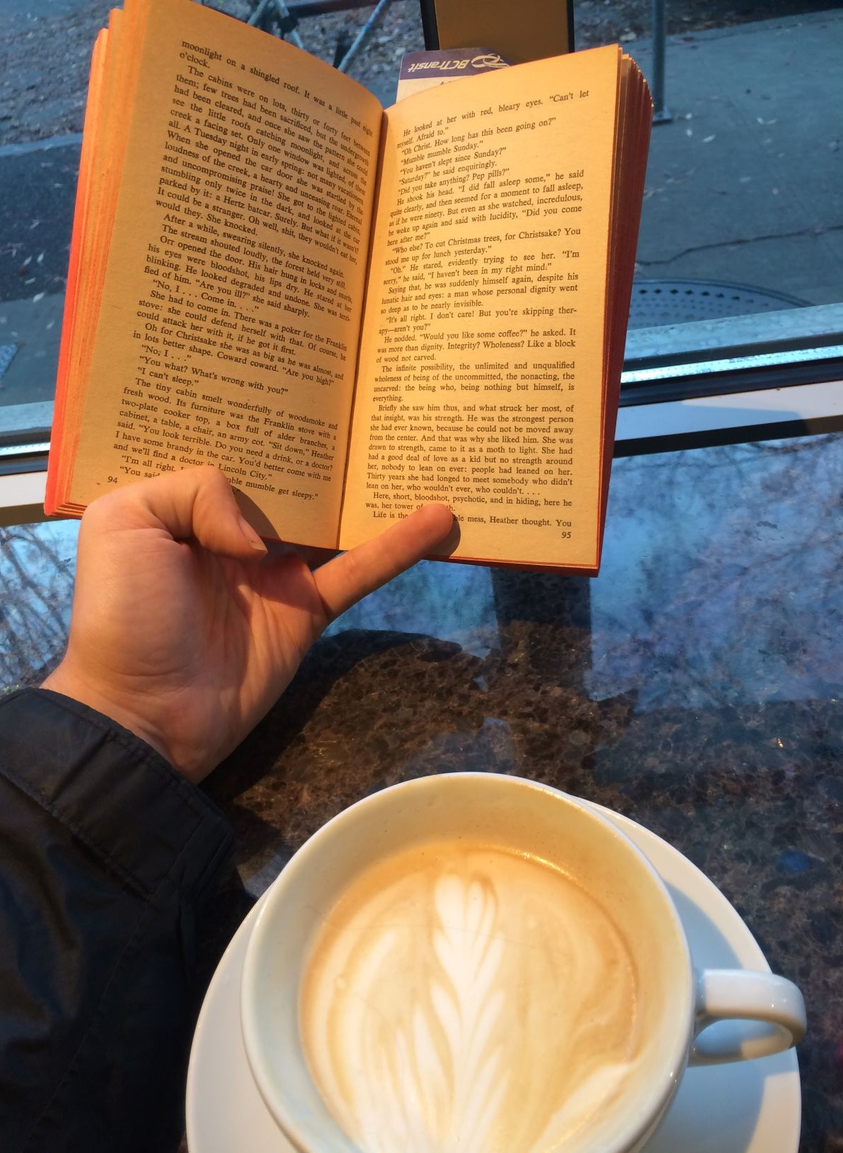 iampretentious.JPG, or enjoying a book that did not live up to its reputation and a coffee that did at Espresso Vivace, October 2019.