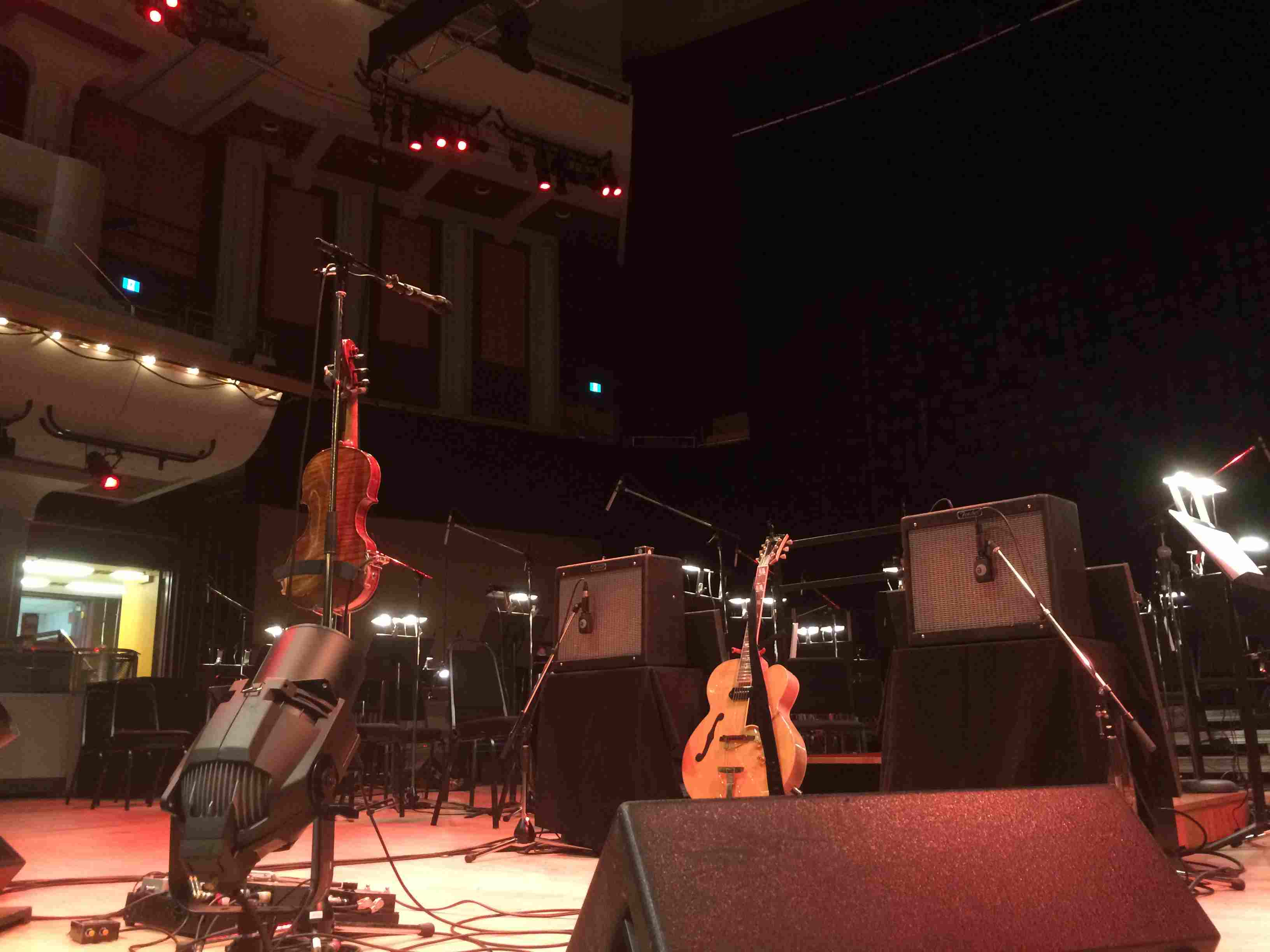 The stage awaiting Owen Pallett & the Calgary Orchestra, July 2018. Remember concerts?