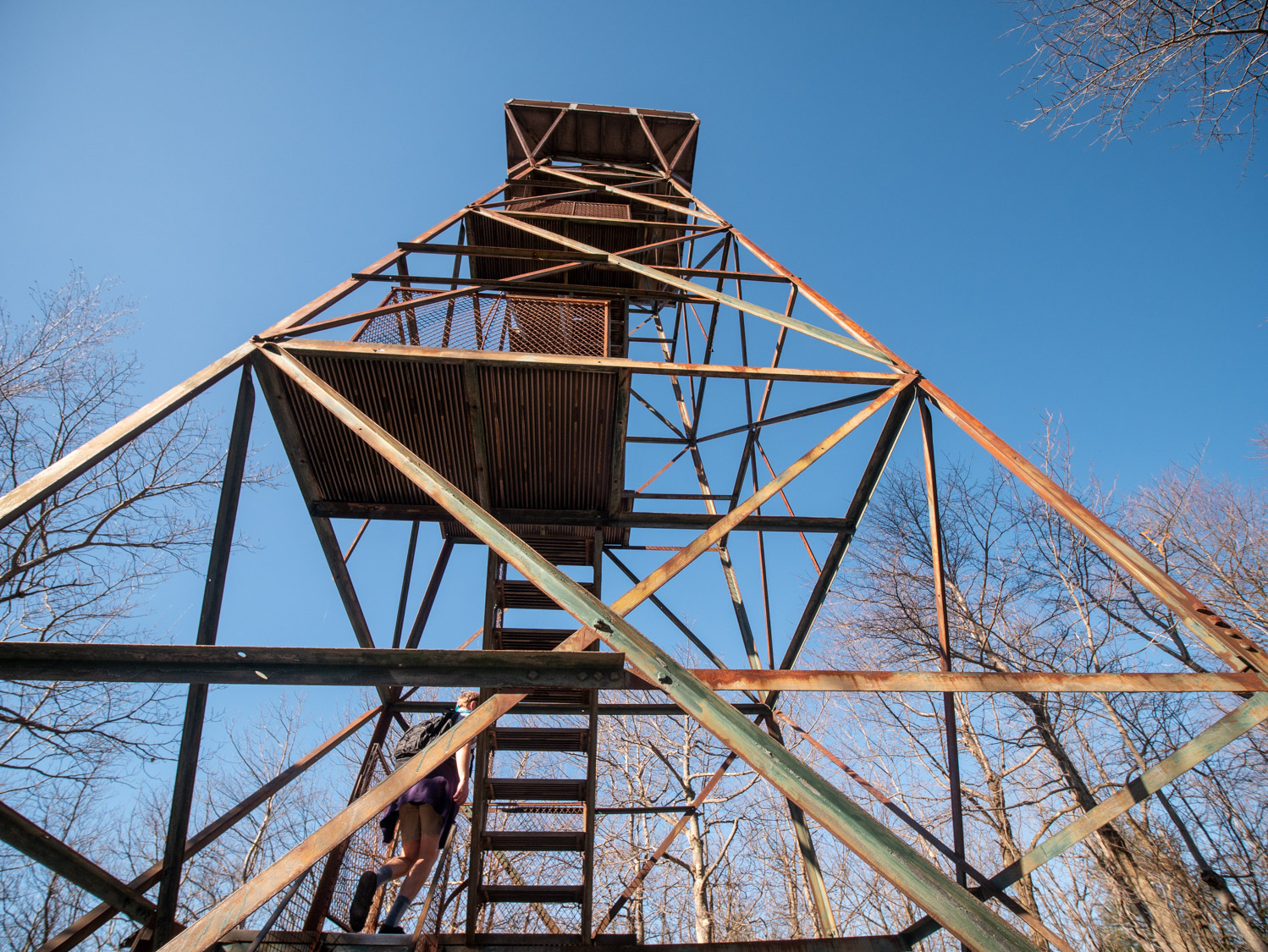 A closer view of the rusting edifice that is the observation tower.