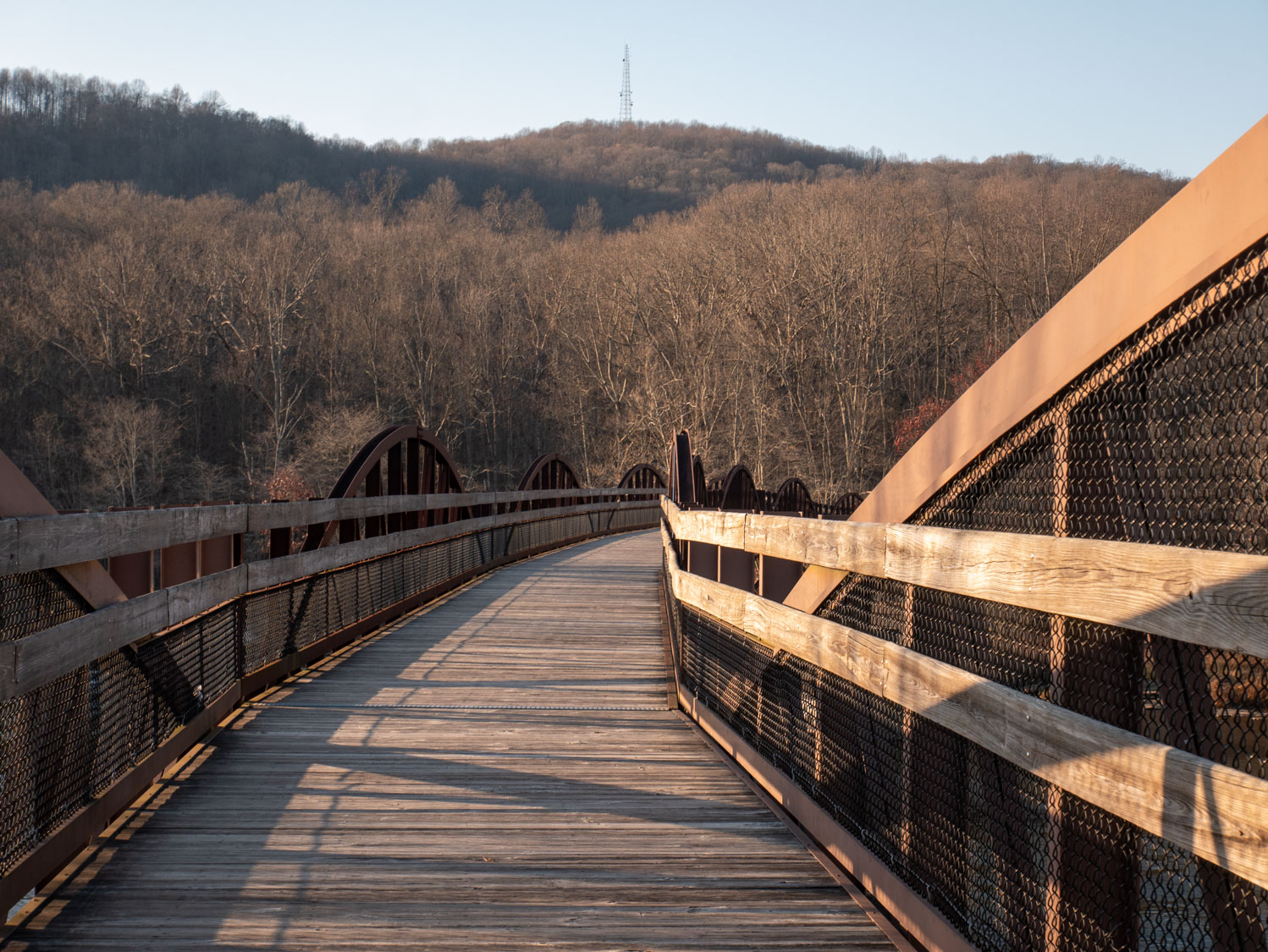 This old bridge is now part of the Alleghany Gap bike trail, and provides nice bike/pedestrian access to the Ferncliff peninsula