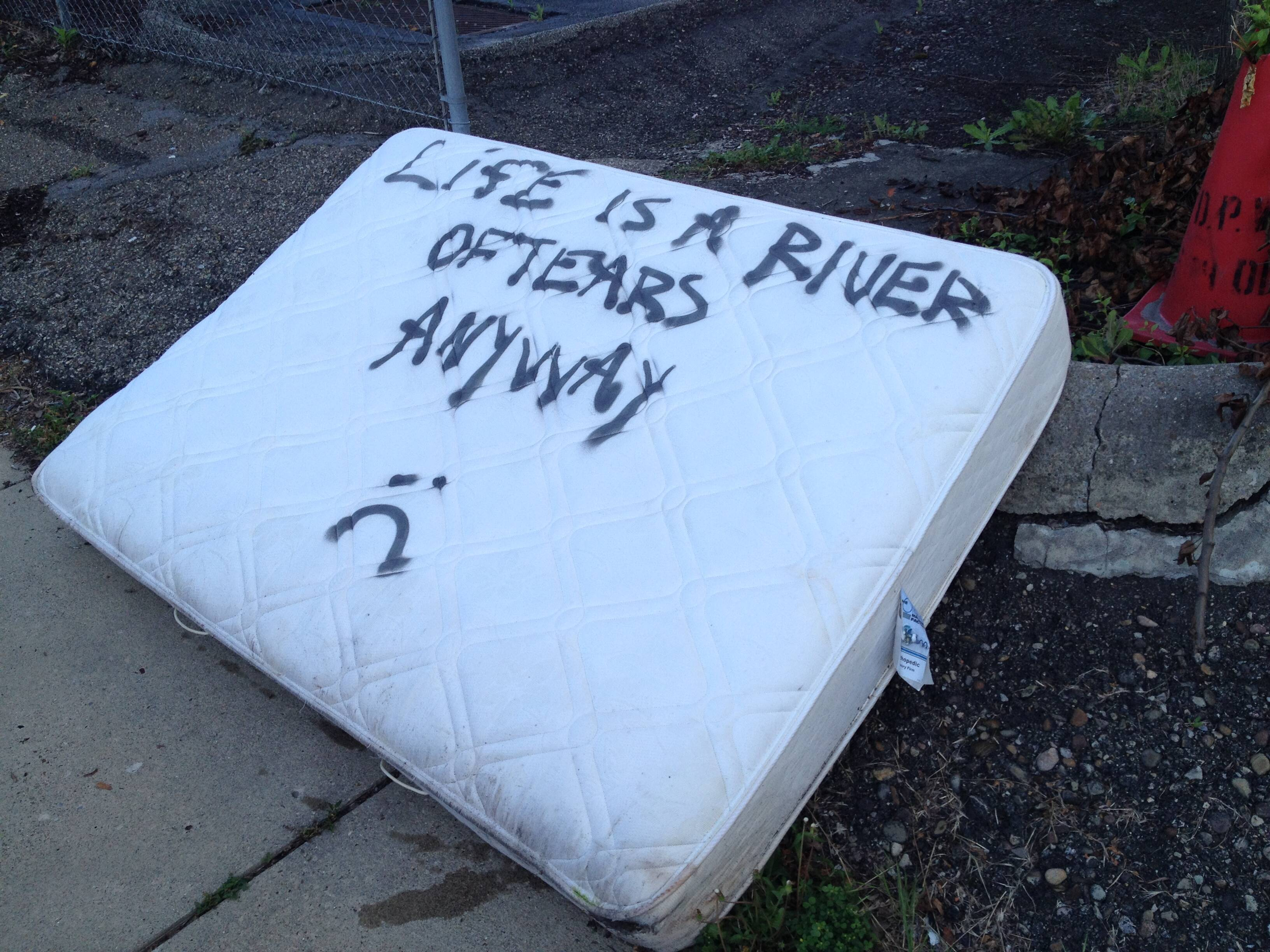 A sad mattress in a sad parking lot in Bloomfield, not far from that duplex. (June 2015)